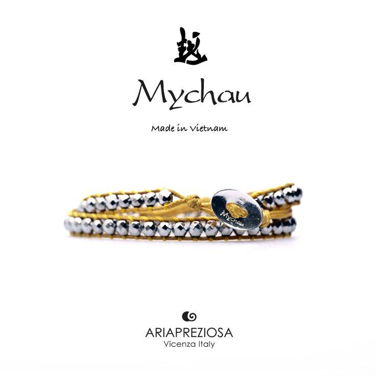 Mychau - Bracciale 2 giri Vietnam originale realizzato con pietre naturali Ematite Placcata (Argento) su base col. Giallo Senape