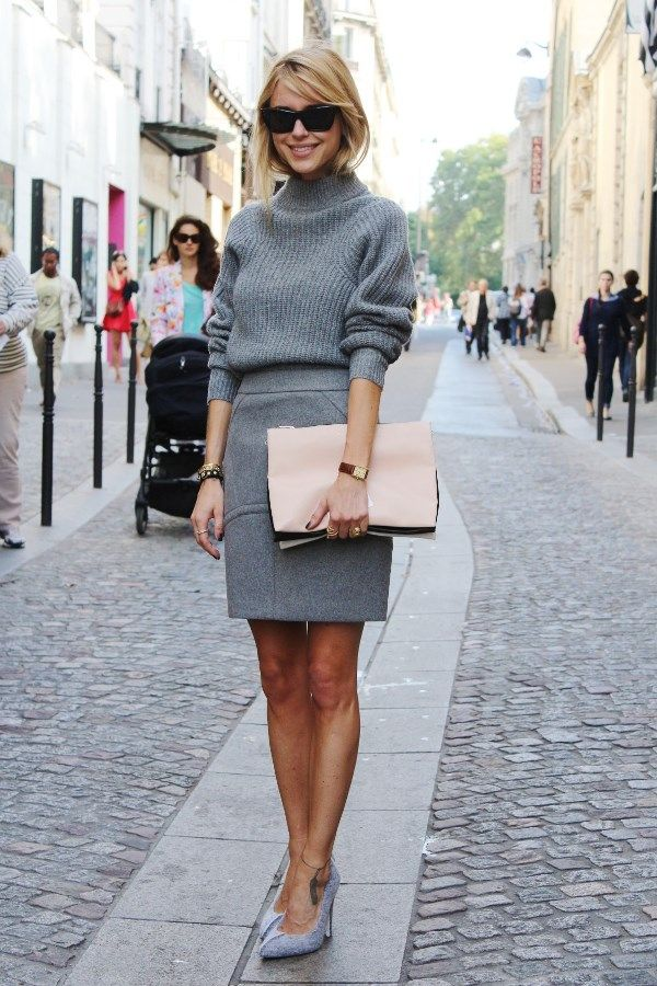 Shop this look on Lookastic:  http://lookastic.com/women/looks/grey-pencil-skirt-grey-pumps-grey-turtleneck-pink-clutch/910  — Grey Wool Pencil Skirt  — Grey Suede Pumps  — Grey Wool Turtleneck  — Pink Leather Clutch