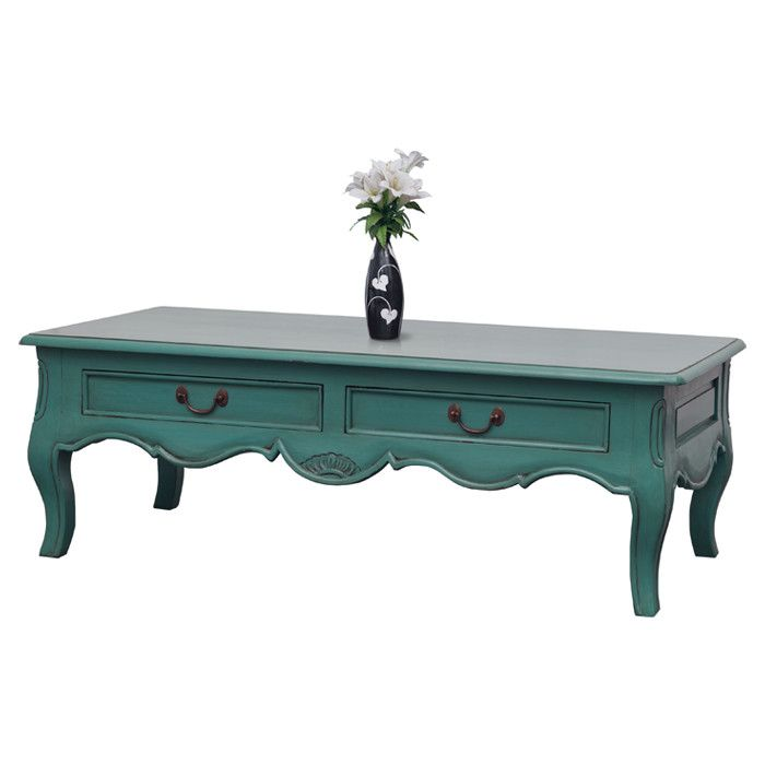 Inspiration For My White Coffee Table Featuring Scalloped Details And A Distressed Turquoise Finish This Artful Adds Pop Of Provincial