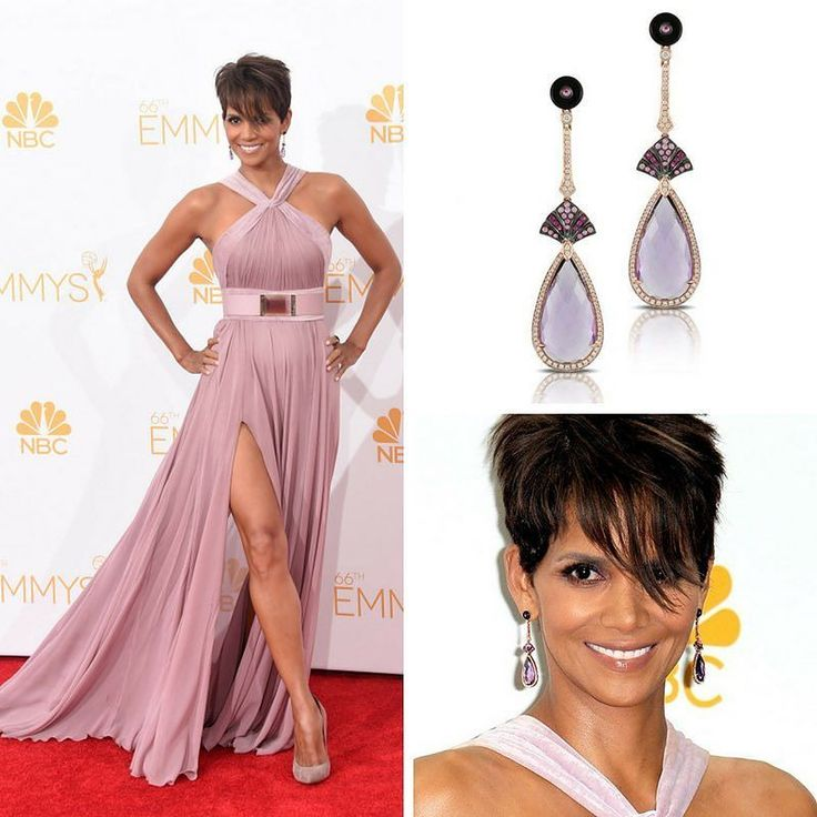 Gorgeous Halle Berry @halleberry during the 2014 Emmy Awards in a Doves by Doron Paloma @dovesjewelry Amethyst and Mother of Pearl Earrings to complement her Lavender Gown by Elie Saab @eliesaabworld that featured a halter-neck with a thigh-high slit.  #purplebyanki #diamonds #luxury #loveit #jewelry #jewelrygram #jewelrydesigner #love #jewelrydesign #finejewelry #luxurylifestyle #instagood #follow #instadaily #lovely #me #beautiful #loveofmylife #dubai #dubaifashion #dubailife #mydubai…