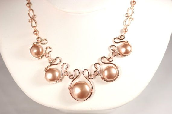Rose Gold Statement Necklace Rose Gold Pearl Necklace Wire Wrapped Jewelry Handmade Rose Gold Necklace Rose Gold Jewelry Swarovski Pearl