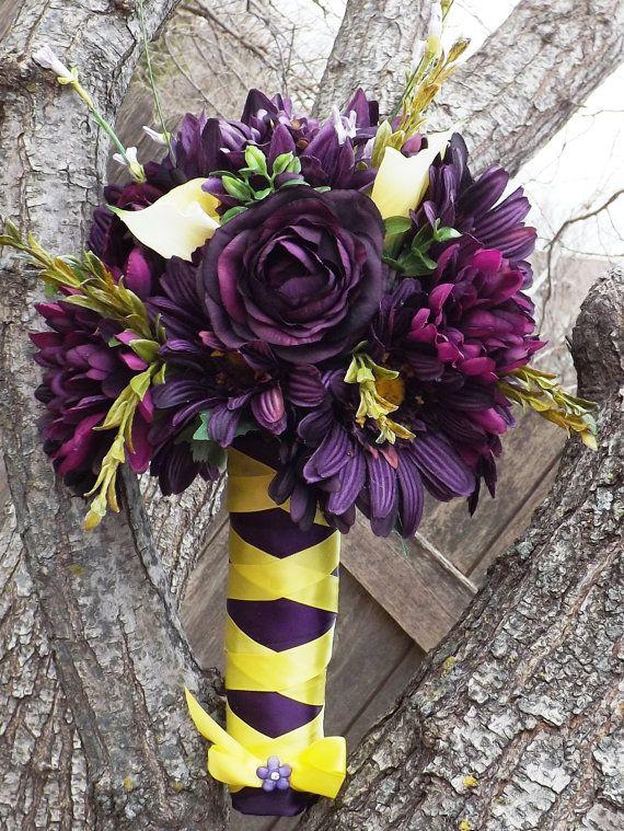 Dark Purple Wedding Bouquet by HappyDayFlowerCo