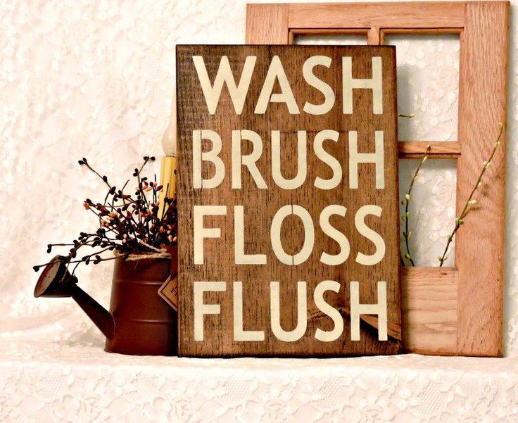Wash Brush Floss Flush - Primitive Country Painted Wood Sign, bathroom rules sign, bathroom decor, kids rules bathroom, housewarming gift by thecountrysignshop on Etsy