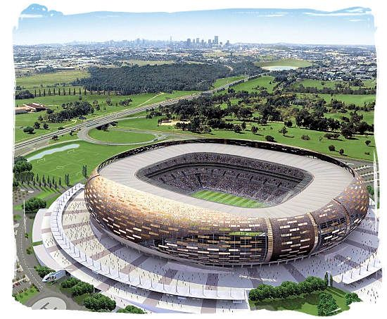 The new FNB Soccer City Stadium at Johannesburg - South Africa Sports Top Ten South African Sports
