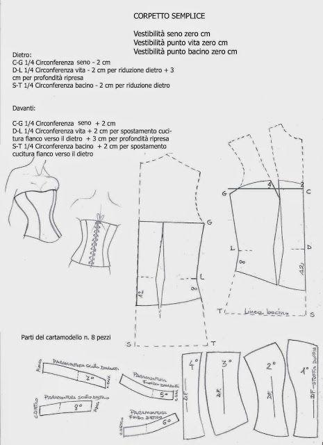 I Quaderni di Studio Manie: CARTAMODELLO CORPETTO BUSTINO SEMPLICE CON LACCI D...