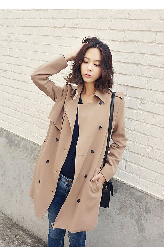 Shoulder Strap Trench Coat Korean Fashion Jackets Pinterest Trench