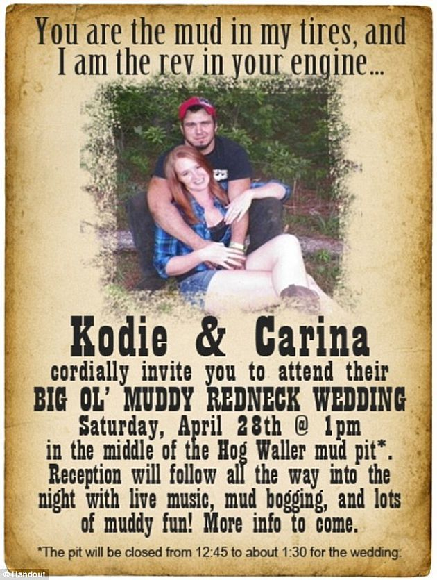 Love the Invitation but it needs something.... CAMO  http://www.weddingclan.com/wp-content/uploads/2012/07/redneck_wedding_olg7o.jpg