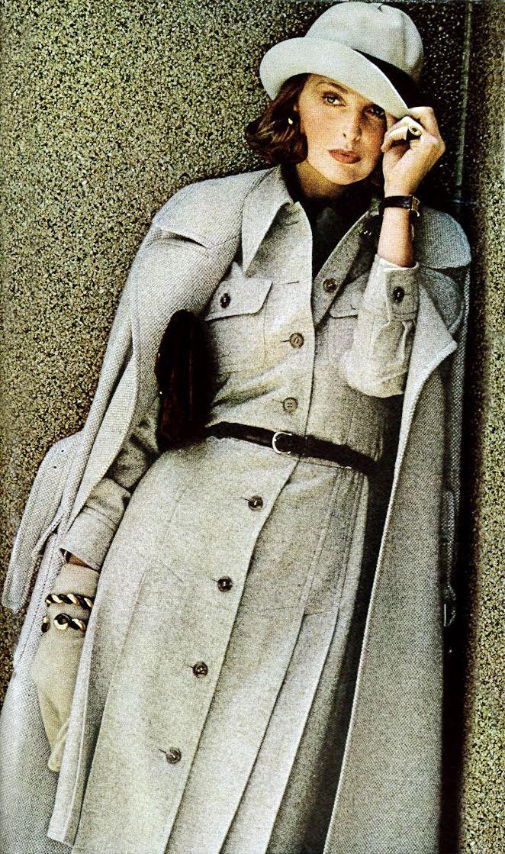 Samantha Jones by Bob Stone Vogue 1972 vintage fashion style subtle casual day dress work office cream white wool winter jacket coat hat safari classic 70s designer model magazine