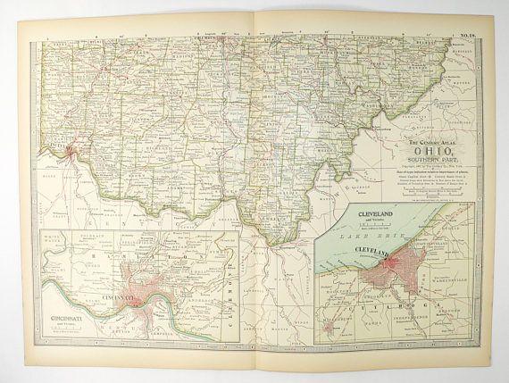 Vintage Map Southern Ohio Map 1899 Century Map of Ohio, Cincinnati Cleveland Ohio Gift, OH Map, Genealogy Research, County State Map 11 x 15 available from OldMapsandPrints.Etsy.com OldMapsandOldPrints.com #SouthernOhioMap #OhioMap #VintageMapofOhio #OHMap #1899CenturyAtlasMapofOhio