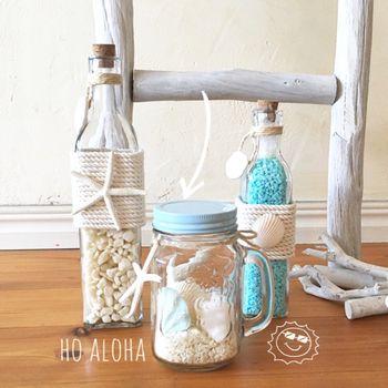 やはり一番真似しやすい、ガラスのケースに貝殻を詰めたインテリアグッズ。瓶やメイソンジャーなど、透明なら何でもOK!窓際に飾ると素敵でしょうね。