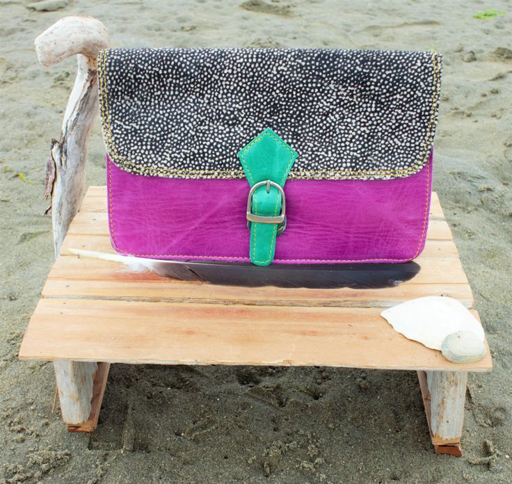 Super Cute Leather Purse with Printed Fur by ShivaShack on Etsy
