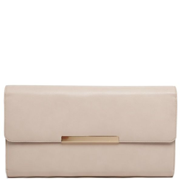 Nude envelope clutch with gold metalic detail and five internal pockets.