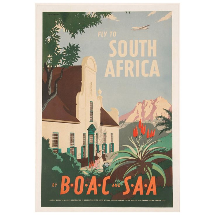 Original 1940s BOAC South Africa Airline Travel Poster