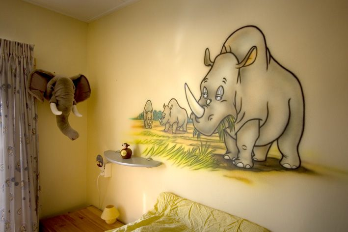 Neushoorn kinderkamer muurschildering