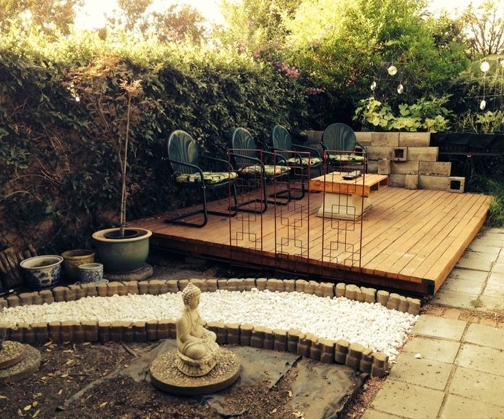 Wood Pallet Backyard Deck, a pretty affordable option for the patio. could get pallets from work