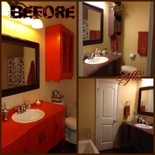 The biggest part was stripping, sanding and repainting the existing vanity.  It was a horrendous burnt orange/reddish color. I chose Lowe's signature mocha mousse by Valspar as my base paint color.