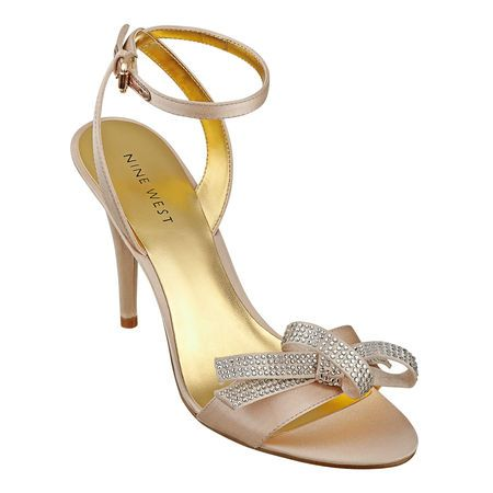 """It's party time with the Sweeti.  Single sole 3 3/4"""" sandal with bow detail and glitter sole.  Adjustable ankle buckle closure. pink satin"""