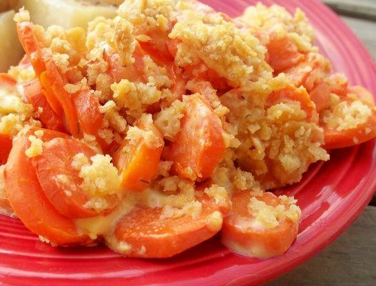Carrot Casserole - with a twist (Velveeta, butter, dill, Ritz crumbs)  Sounds strange, but delicious!