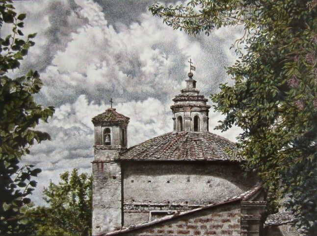 Little church, graphitint pencils on paper.  #draw #drawing #pencils #art #graphitint #church
