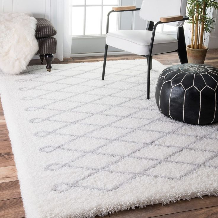 nuLOOM Soft and Plush Cloudy Shag Diamond White Rug (4' x 6') | Overstock.com Shopping - The Best Deals on 3x5 - 4x6 Rugs