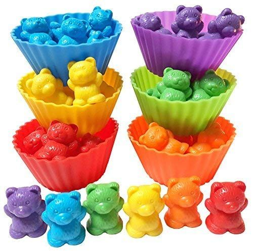 Jumbo Counting Bears with Stacking Cups – Montessori Rainbow Matching Game, Educational Toys and Color Sorting Toys for Toddlers with 54 Math Manipulatives, Toy Storage and Learning Activities eBook