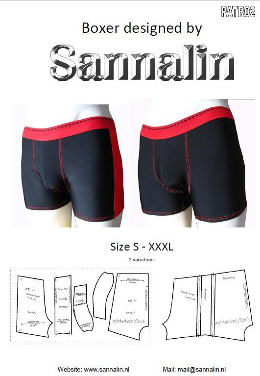 Patroon/mannen boxer/ pattern men boxer PATR02 by Sannalin on Etsy