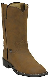 Basics By Justin� Ladies Brown Crazy Cow Roper Boots