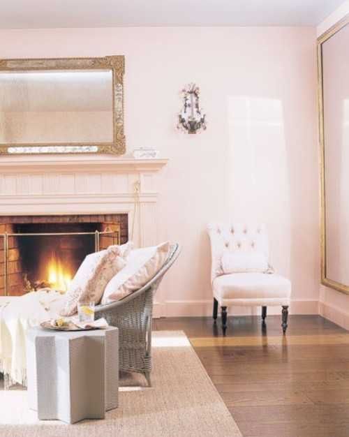 lightin gray and pink colors for living room design with fireplace