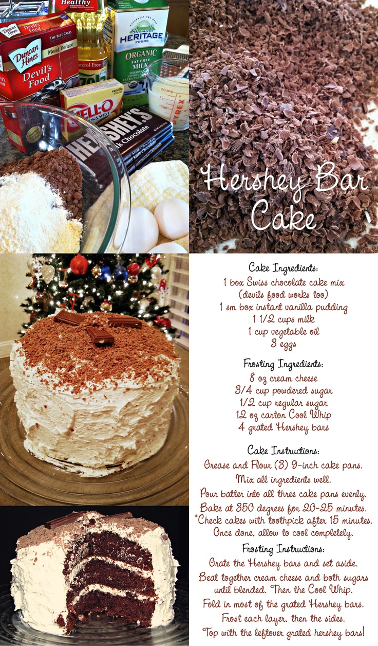 My sister made this excellent Hershey Bar Cake for New Years, it was awesome! great recipe to try