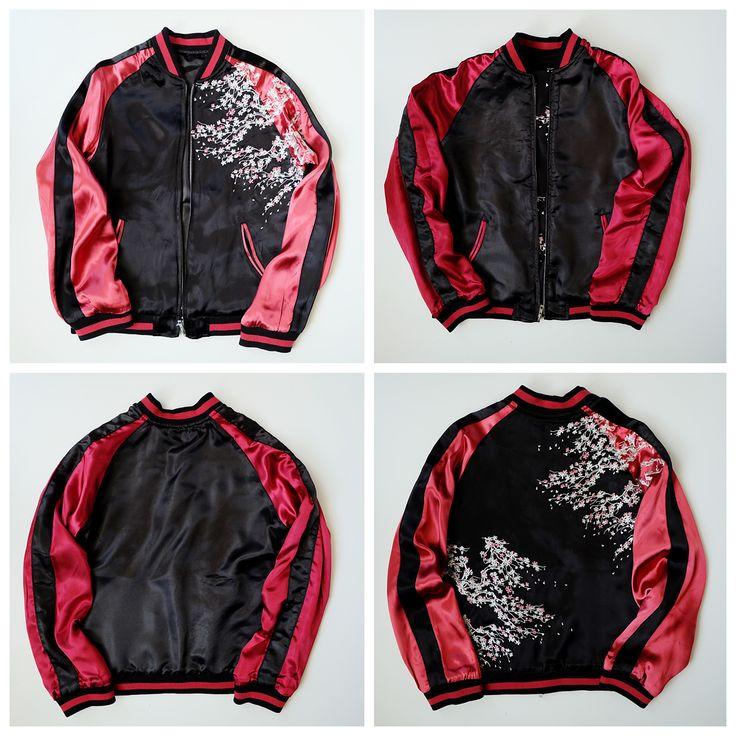 Vintage Japanese Sexy Black Red Zen Minimalism Sakura Flowers Embroidered Sukajan Souvenir Jacket - Japan Lover Me Store