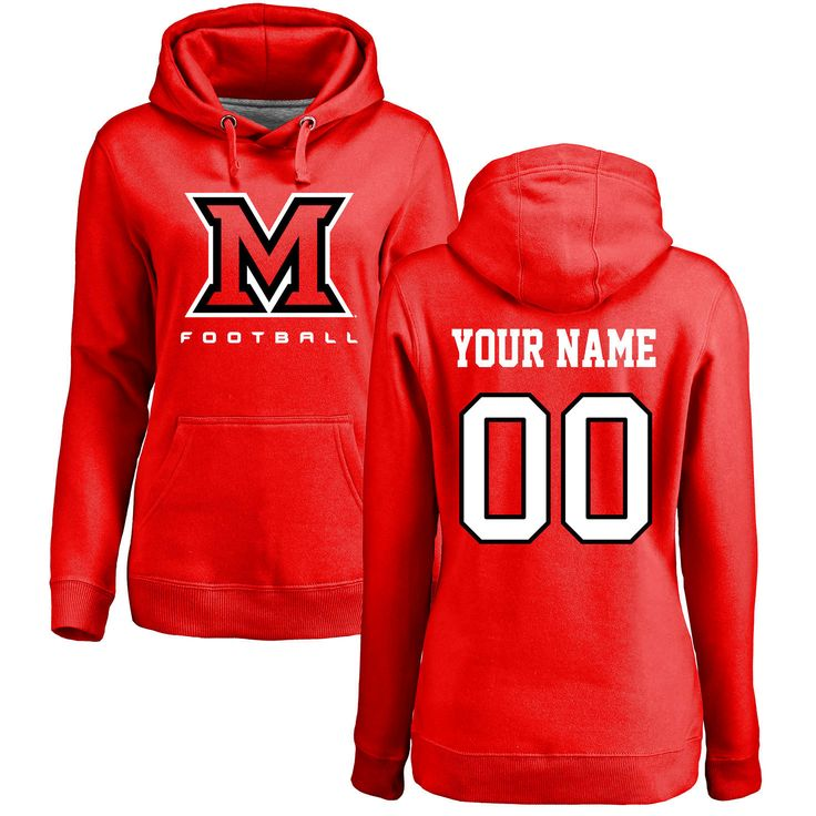 Miami University RedHawks Women's Personalized Football Pullover Hoodie - Red - $69.99