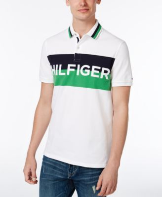 8b7b0652b TOMMY HILFIGER Tommy Hilfiger Men'S Custom-Fit Stripe Logo Stretch Polo. # tommyhilfiger #cloth # polos