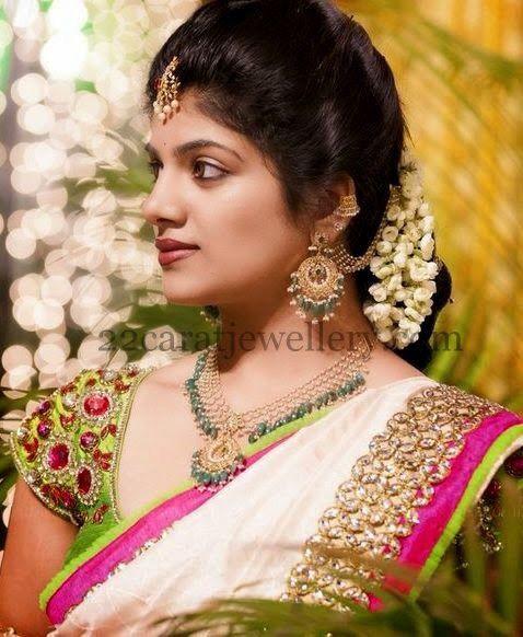 Bridal saree heavy blouse embroidery Telugu bride Tamil bride Heavy Bridal Jewellery haaram jhumkha Bridal Lehenga