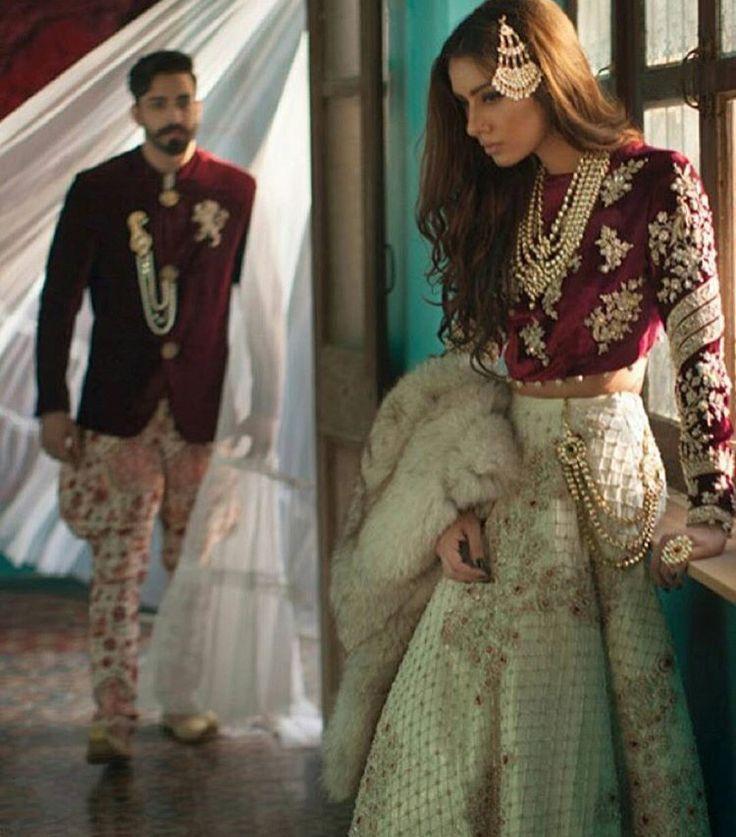 Maroon + white bridal lengha
