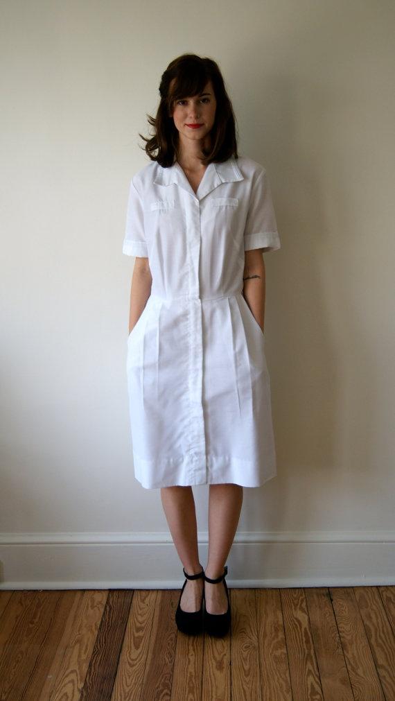 Vintage Nurses Uniform. 50s / 60s White Dress. Military Nurse Uniform ...