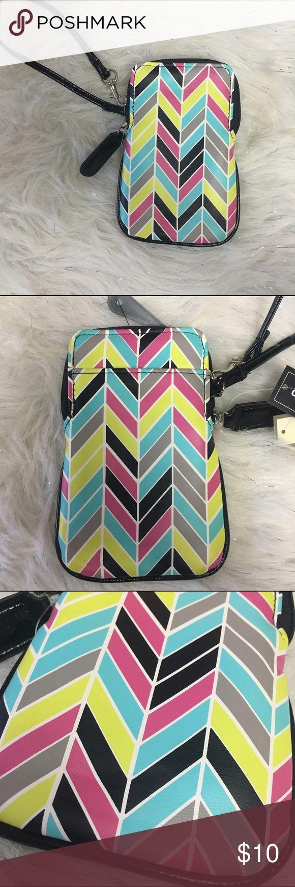 "Blue pink yellow chevron phone case wallet wrist Wallet wristlet phone case. Chevron print faux leather 6"" long 3.5""-4"" wide bu Bags Wallets"