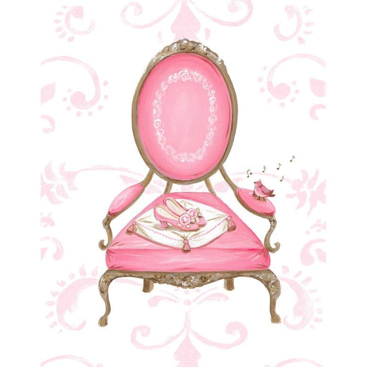 Oopsy Daisy 'Little Princess Chair' Stretched Canvas Wall Art