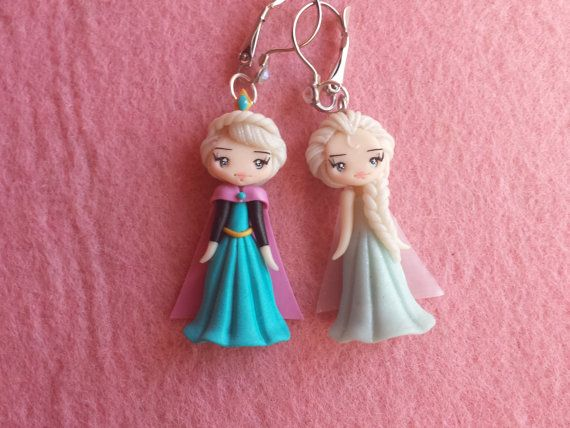 Earrings Elsa frozen in fimo polymer clay by Artmary2 on Etsy, €14.00
