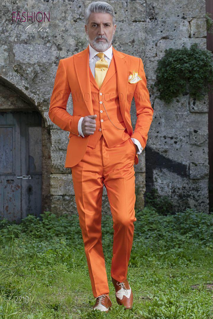 d59ebd690e79 Abito raso luxury di cotone arancione per moda sposo estivo