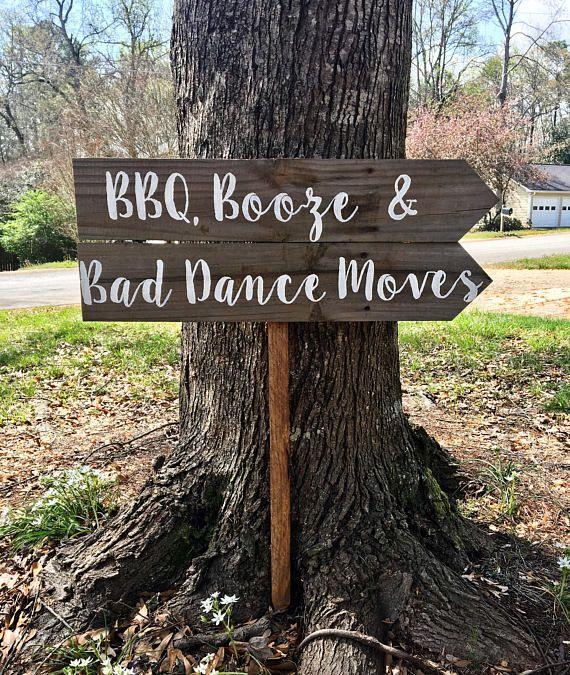 BBQ Booze & Bad Dance Moves, I Do BBQ Sign, Wedding Sign Wood, Rustic Wedding Decor, Rustic Wedding Signage, Rustic Reception Sign. www.platteriverfort.com #BBQ #receptionsign