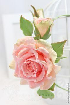 """Ободок с розой """"Arcobaleno"""". - коралловый,зелёный,розы ручной работы,розы из полимерной глины"""