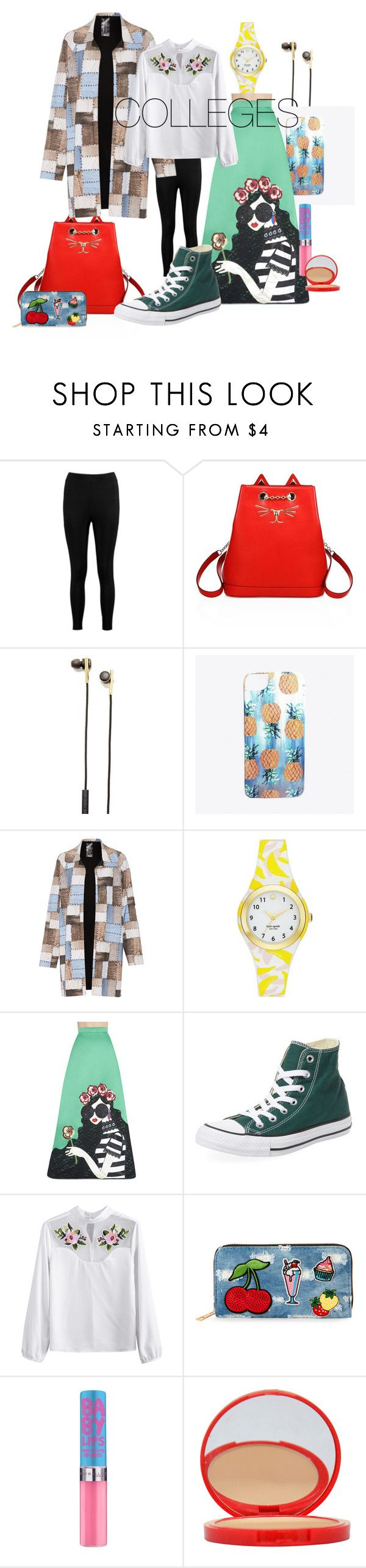 """College's Outfit"" by tsabitaa on Polyvore featuring Boohoo, Charlotte Olympia, Caeden, Nikki Strange, Norma Kamali, Kate Spade, Alice + Olivia, Converse, Viola and Bourjois"