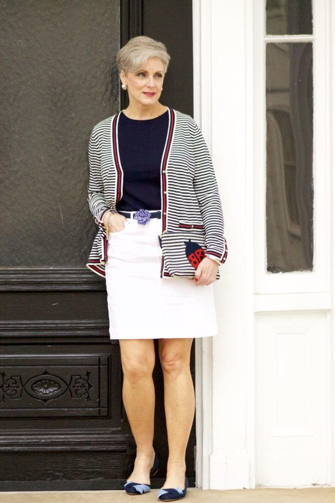 talbots striped cardigan, talbots navy tee, talbots white denim skirt, talbots gingham denim belt, talbots denim shoes, talbots ladybug clutch