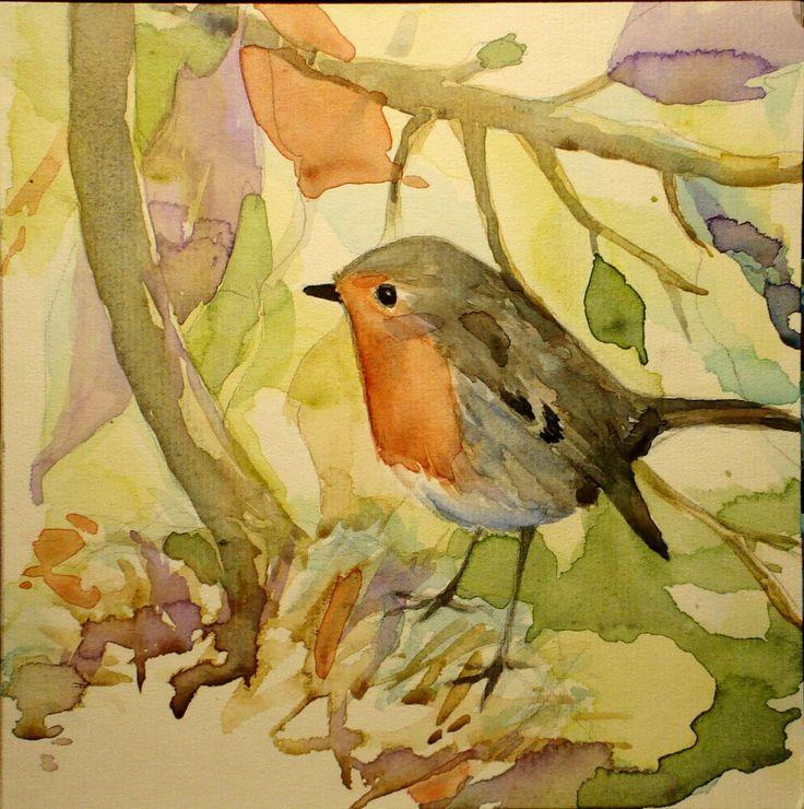 Robin, watercolour by Vanessa d'Azevedo