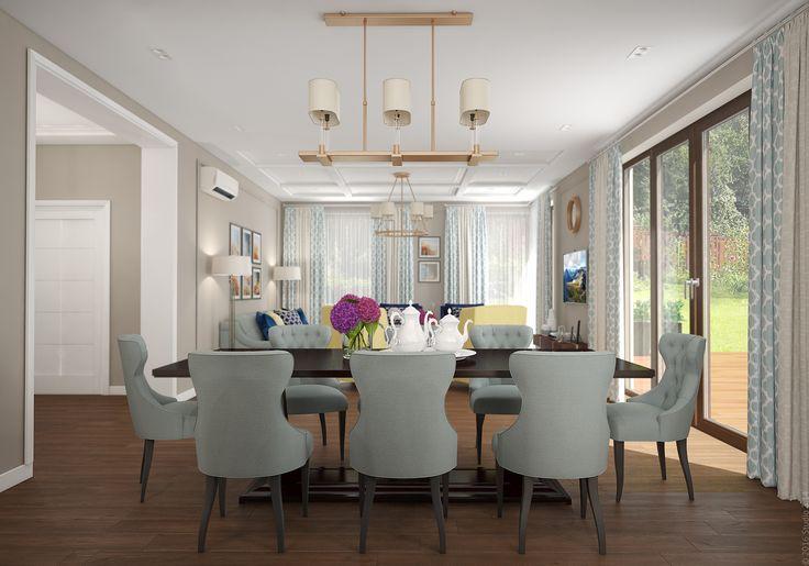 Окна в пол выходят на террасу. Предустмотрены плотные шторы в тон обеденной мебели.