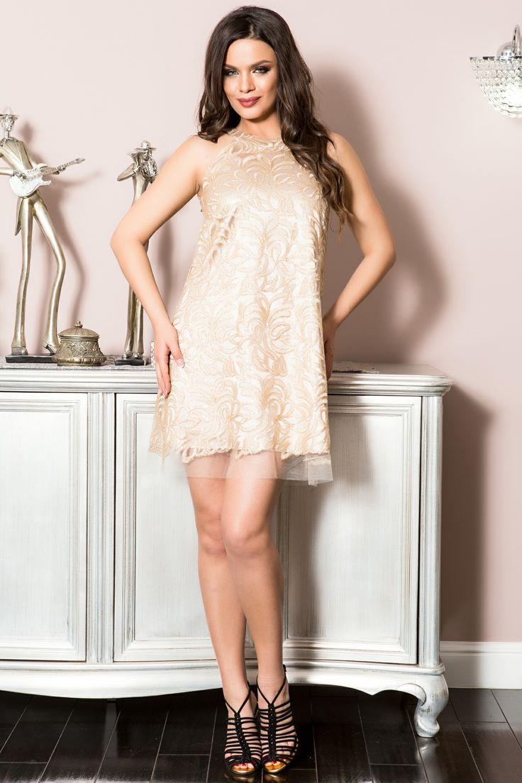 Rochie cu flori paietate aurii | Madelia Fashion - Magazin online haine și rochii de damă