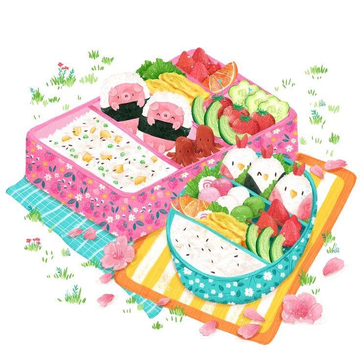 bento box - children's illustration by Sofia Cardoso #illustration #kidlitart