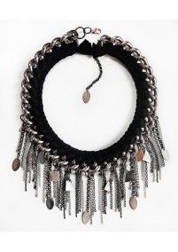 FIRE DE MURG SILVER NECKLACE WITH SIMPLE BRAID AND CHARMS BLACK http://bit.ly/1mnctfA wearitwithlove.com | Contemporary Fashion. Young Designers