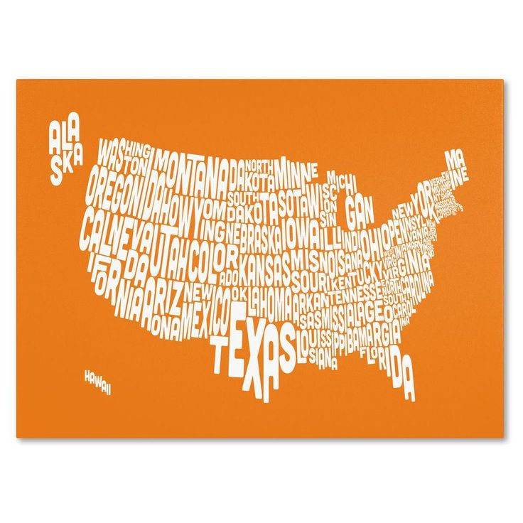 16 in. x 24 in. USA States Text Map - Orange Canvas Art
