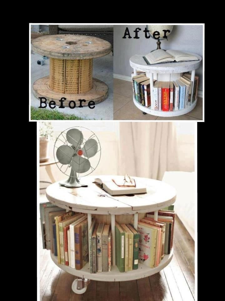 Re-use: Old wooden spool turned into end/coffee table with space for books.  Love the casters on the bottom